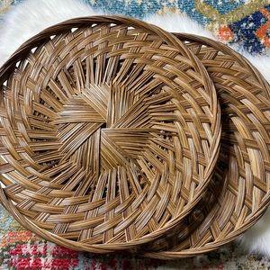"""Basket Wall Art 18.25"""" Flat Platter Tray Set of 2"""